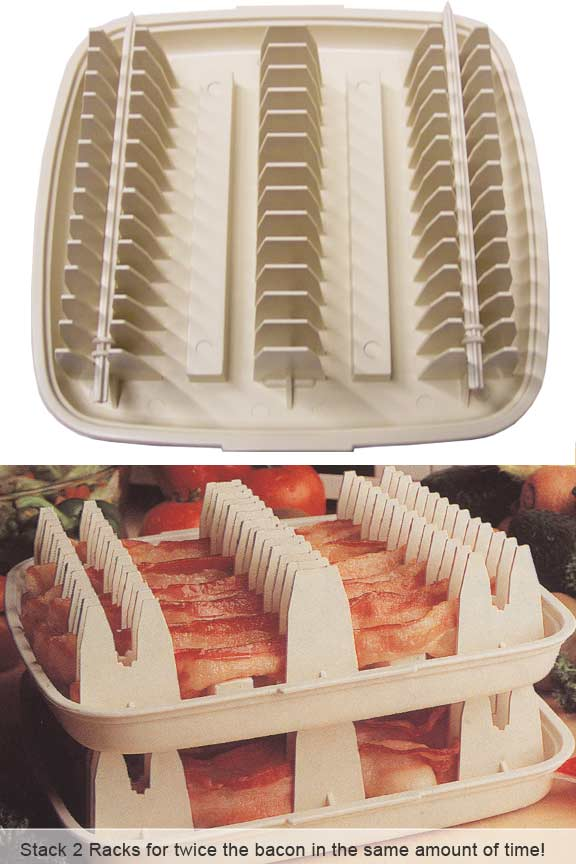 Microwave Bacon Cooking Rack Stack Two Trays For Twice The Capacity In Same Amount Of Time