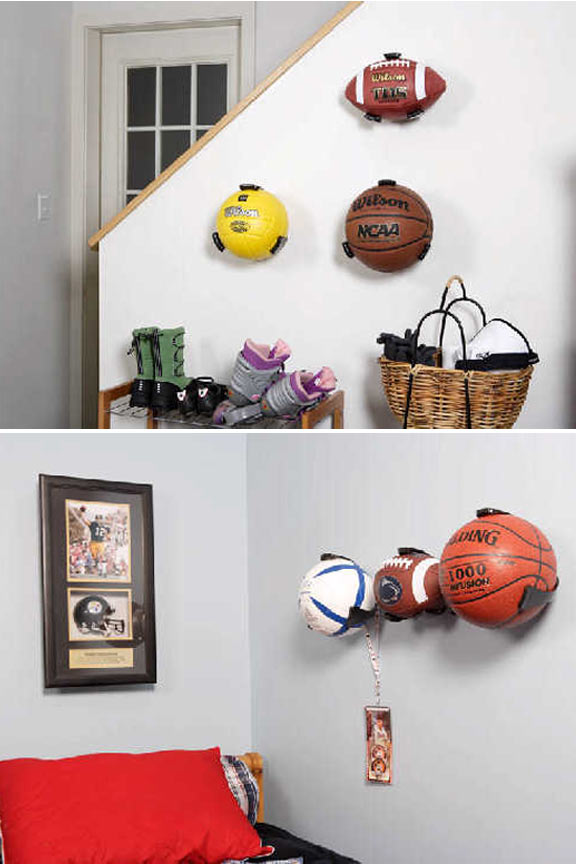 Use to display and decorate, or just store balls in the child's room they belong to.