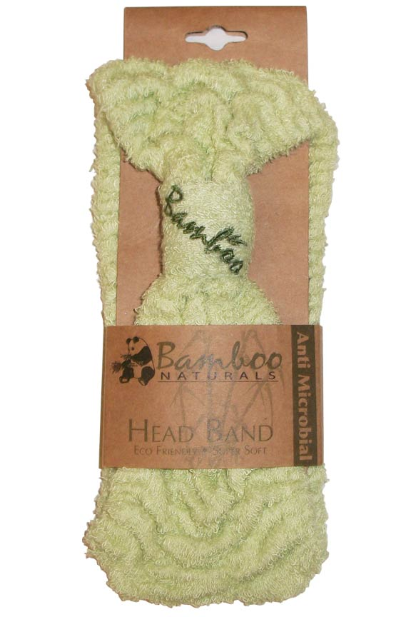 Natural fiber head band. Keep hair up and out of the way!