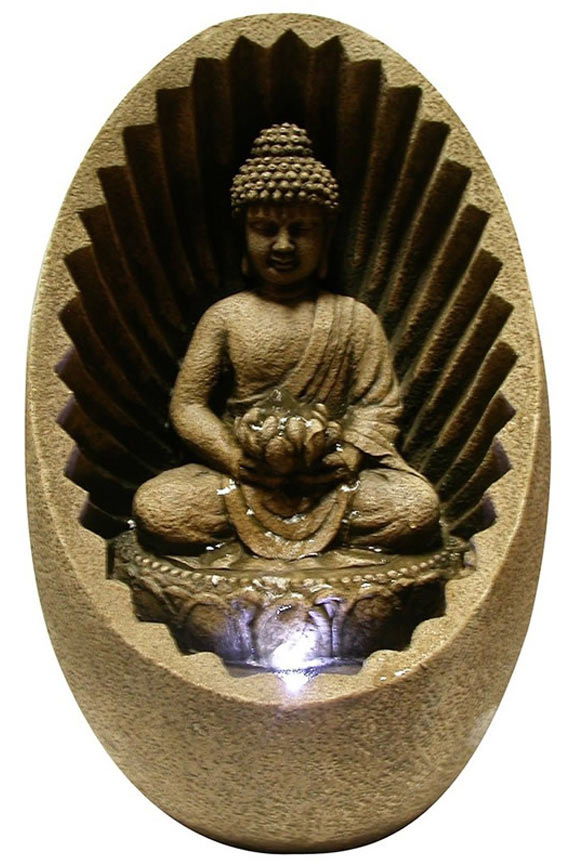WIN322 Table Fountain With Buddha Figure and LED Light