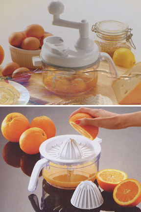 Beat eggs or squeeze fresh orange juice with the included attachments.