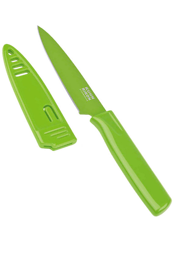 Green color colori paring knife.