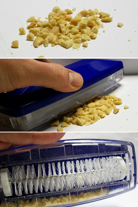 Remove crumbs from tables and counters.
