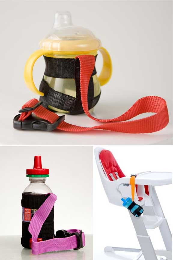 A strap for tethering cups and bottles to keep them close at hand.