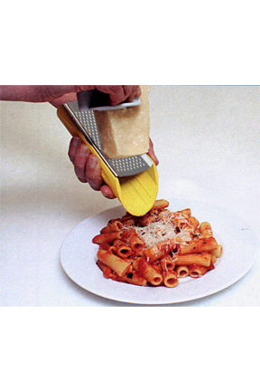 A hand-held grater and slicer.