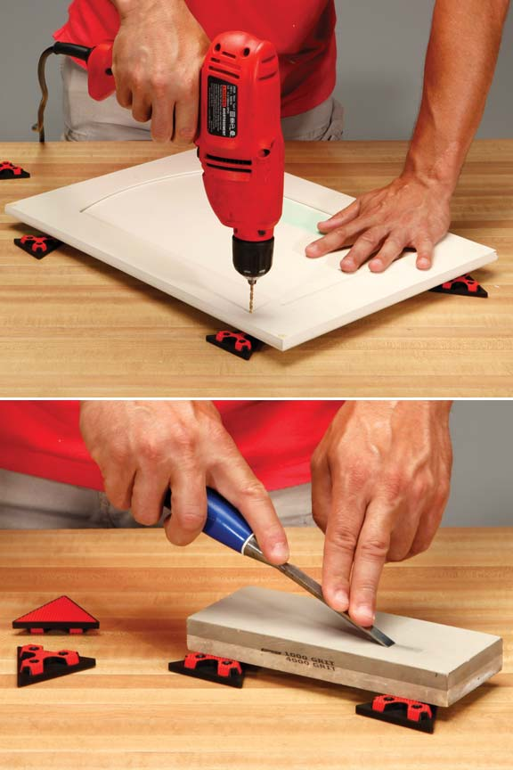 Secure objects without using clamps. Ideal for sanding, drilling, chiseling and more.