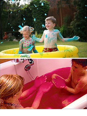 Use inside in the tub, or outside in a pool.