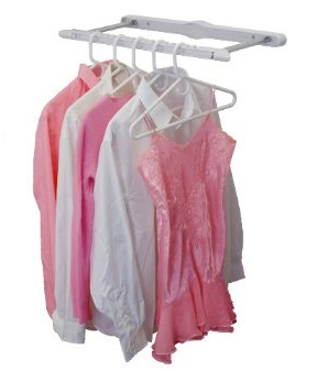 Hang several items of clothing on this sturdy rack.