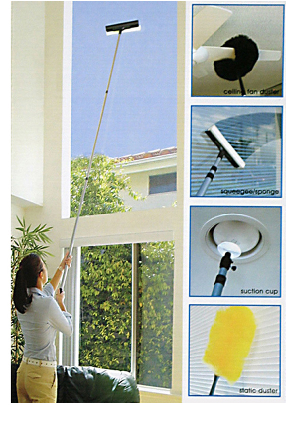 Long extension pole allows you to reach almost anywhere.