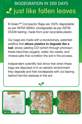 Environmentally friendly! Bags break down like fallen leaves.