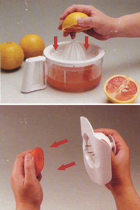 Squeeze fresh juice with included attachment. Keep fingers safe with the food holder.