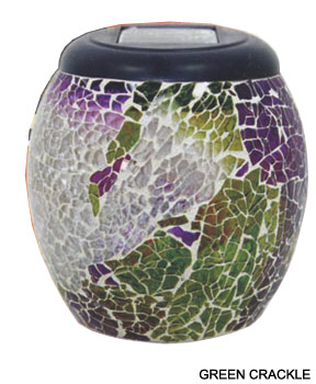 Green and purple crackled glass finish.
