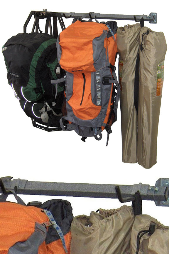 Camping Equipment Storage Rack - Hang everyone's gear in one compact location.