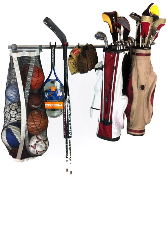 Versatile rack has ability to hold balls, bats, sticks, bags, pads, helmets, bikes and more.