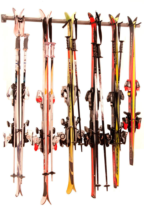 Winter Ski Storage Rack - Hang up to six sets of skis and poles.