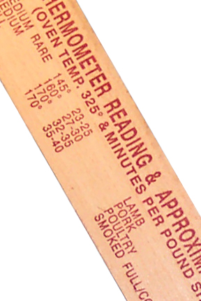 Common temperature recommendations for meat printed on the stick.