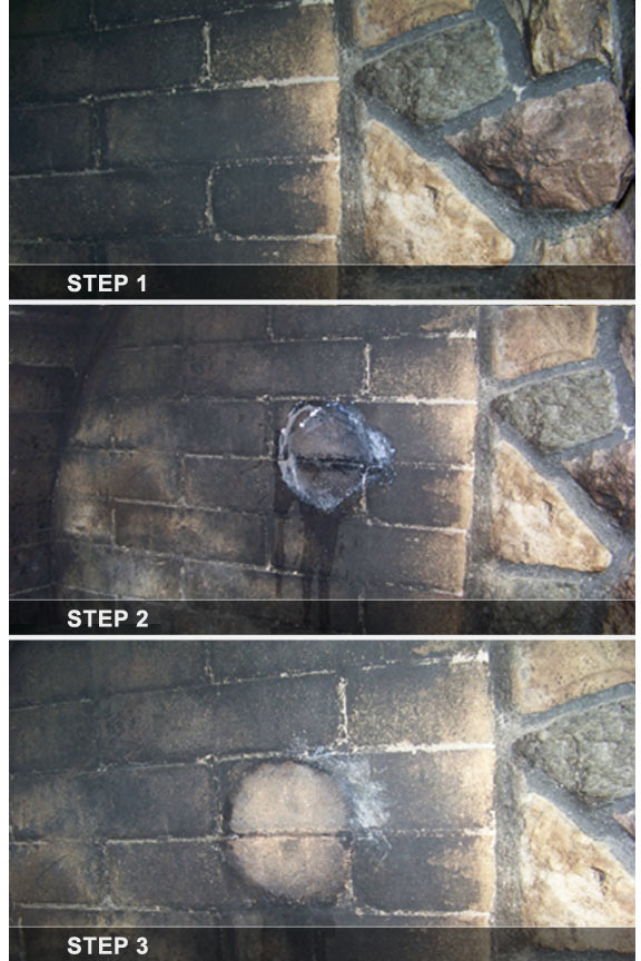 Easy as one, two, three. Eliminate tough grime like soot on bricks.