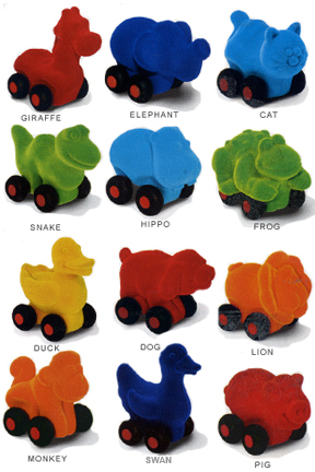Rubbabu Aniwheelies - Small Toy Cars Shaped Like Animals.