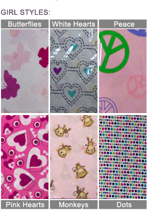 Girls Sheet Set Styles: Butterflies, White or Pink Hearts, Peace, Monkeys or Dots