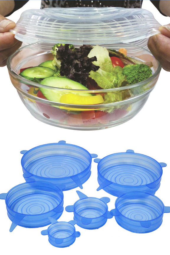 Six Piece Silicone Storage Lid Set