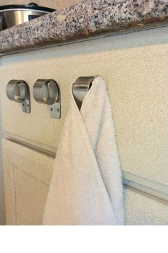 Quickly hang towels in your kitchen or bathroom. Easy installation almost anywhere!