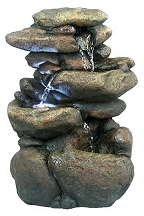 Three Tier River Rock Fountain