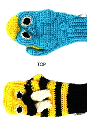 Top view. Bird vs. Bee Mittens.