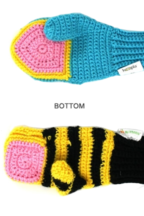 Bottom View. Bird vs. Bee Mittens.