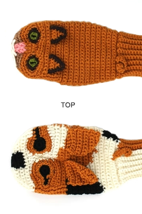 Top view. Cat vs. Dog Mittens.