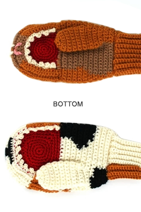 Bottom view. Dog vs. Cat Mittens.
