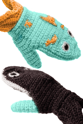 Predator Vs Prey Mittens for Adults - Whale Vs Fish