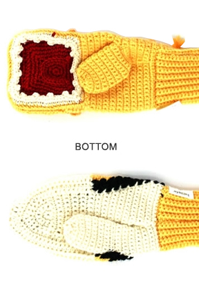 Bottom view. Lion vs. Gazelle Mittens