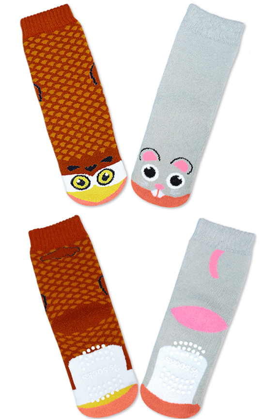 Product Detail. Owl and Mouse Socks.