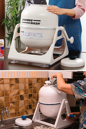 Portable washing machine is easily operated on a counter top.